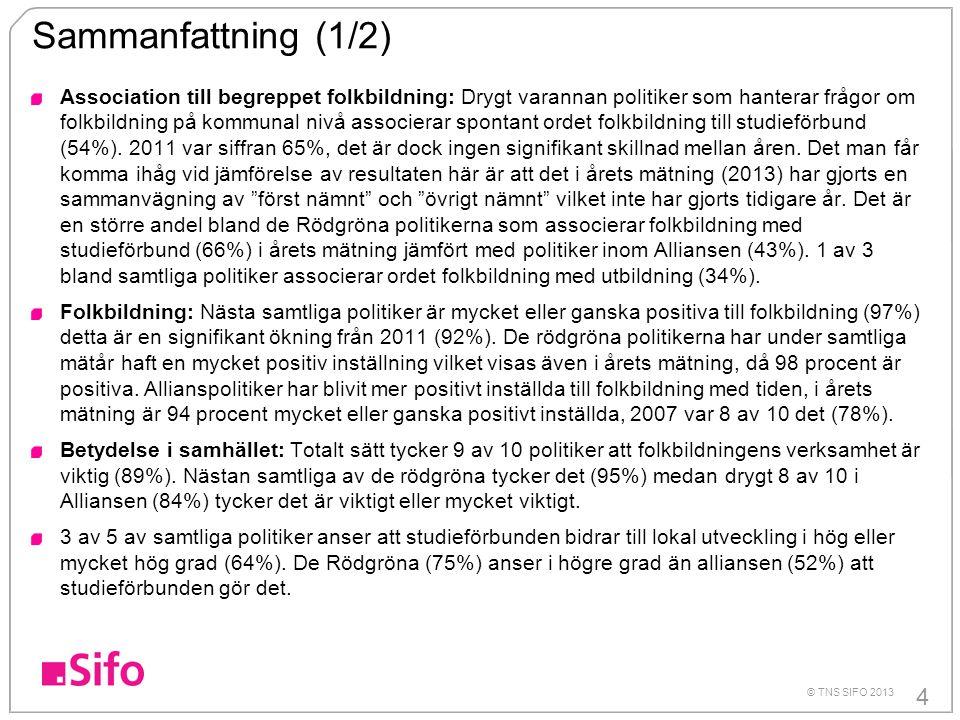 4 © TNS SIFO 2013 Sammanfattning (1/2) Association till begreppet folkbildning: Drygt varannan politiker som hanterar frågor om folkbildning på kommun