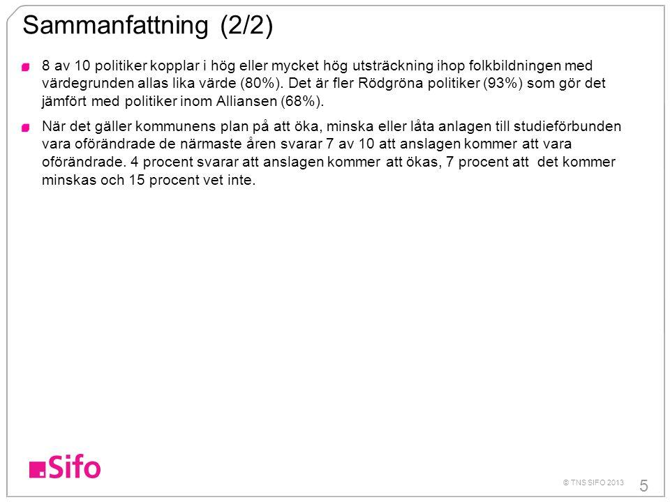 16 © TNS SIFO 2013 Fr3.Hur viktig tycker du att studieförbundens verksamhet är.