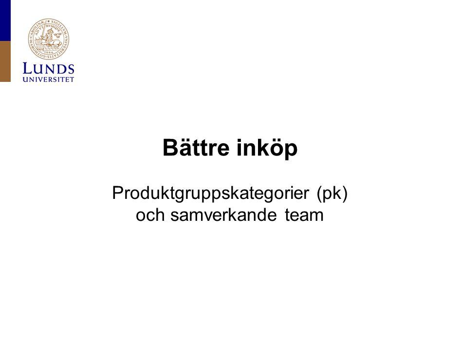 Lunds universitet / Fakultet / Institution / Enhet / Dokument / Datum Bättre inköp •Färre inköpare •Höja kompetensen av inköparna •Samverkande team + pk  kontoplanen och avtalsdatabasen/LUPIN