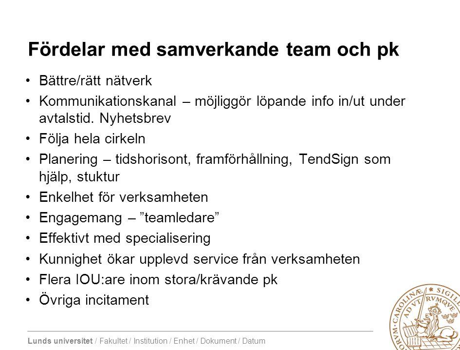 Lunds universitet / Fakultet / Institution / Enhet / Dokument / Datum Fördelar med samverkande team och pk •Bättre/rätt nätverk •Kommunikationskanal –