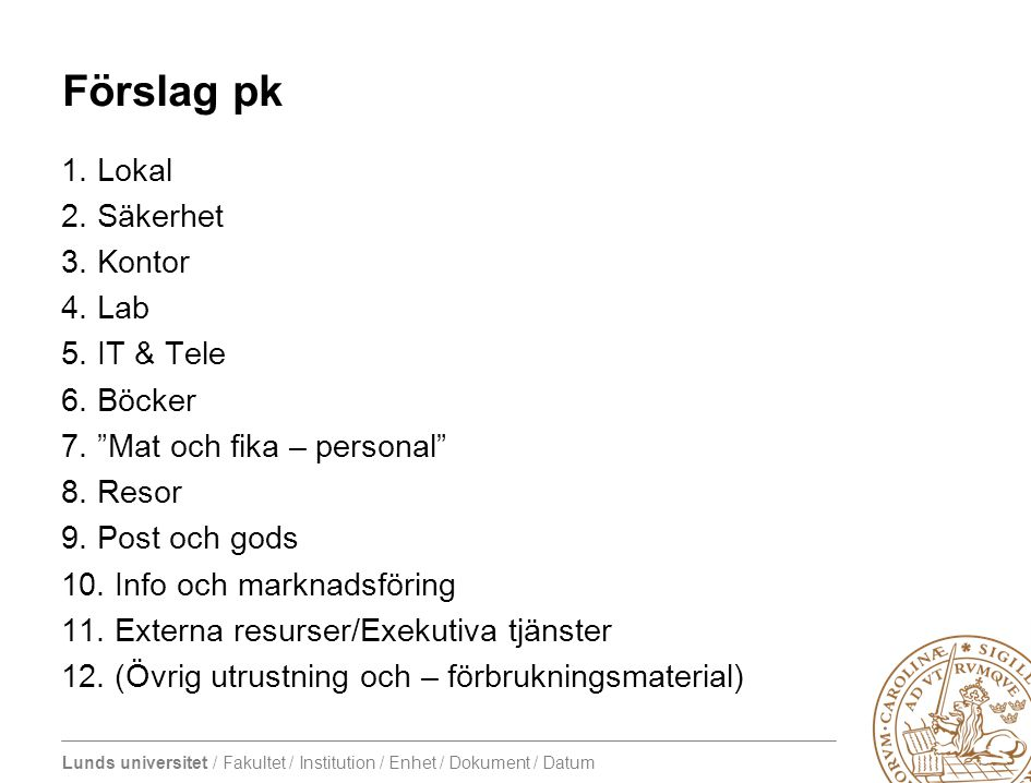 "Lunds universitet / Fakultet / Institution / Enhet / Dokument / Datum Förslag pk 1. Lokal 2. Säkerhet 3. Kontor 4. Lab 5. IT & Tele 6. Böcker 7. ""Mat"