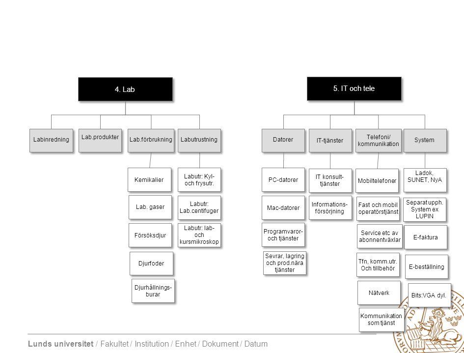 Lunds universitet / Fakultet / Institution / Enhet / Dokument / Datum 5. IT och tele System Informations- försörjning Ladok, SUNET, NyA IT konsult- tj