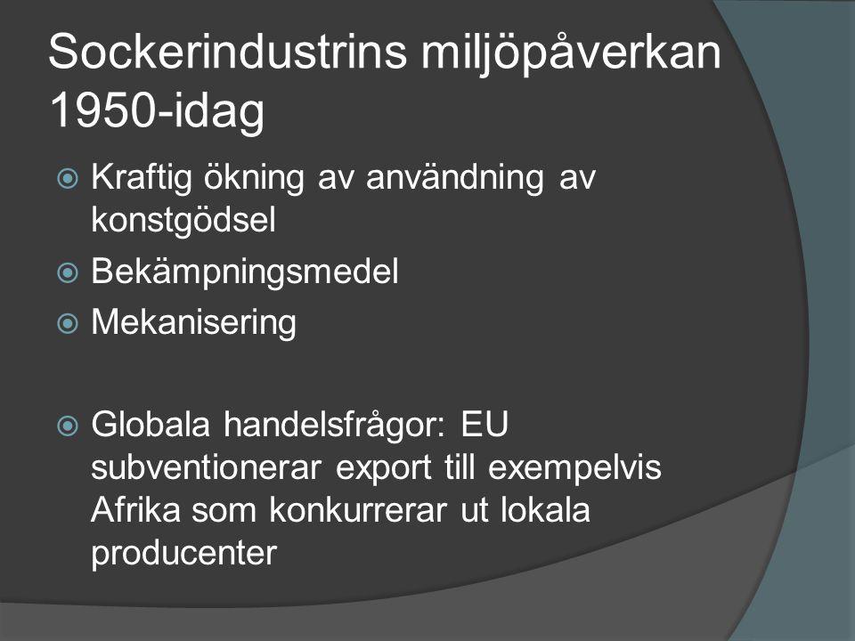Sockerindustrins miljöpåverkan 1950-idag  Kraftig ökning av användning av konstgödsel  Bekämpningsmedel  Mekanisering  Globala handelsfrågor: EU s