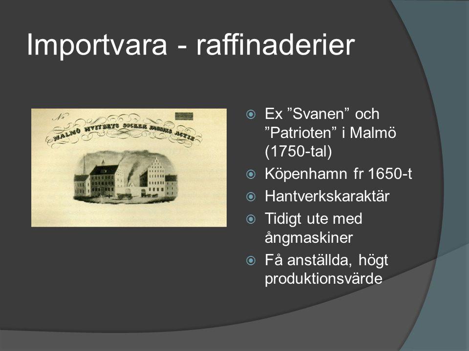 Importvara - raffinaderier  Ex Svanen och Patrioten i Malmö (1750-tal)  Köpenhamn fr 1650-t  Hantverkskaraktär  Tidigt ute med ångmaskiner  Få anställda, högt produktionsvärde