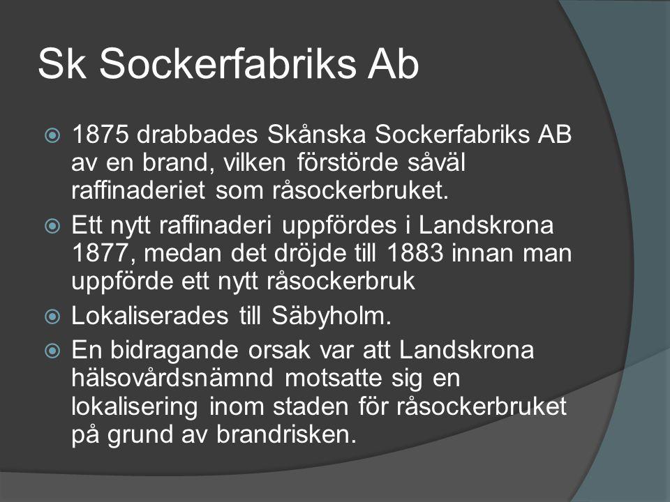 Sk Sockerfabriks Ab  1875 drabbades Skånska Sockerfabriks AB av en brand, vilken förstörde såväl raffinaderiet som råsockerbruket.  Ett nytt raffina
