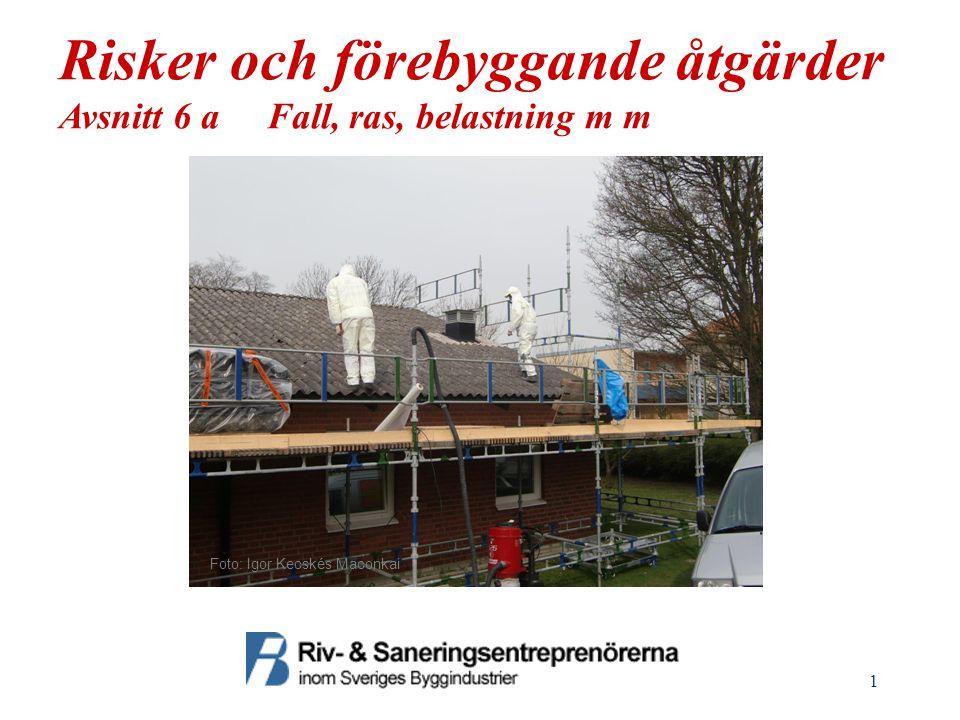 1 Risker och förebyggande åtgärder Avsnitt 6 a Fall, ras, belastning m m Foto: Igor Kecskés Maconkai