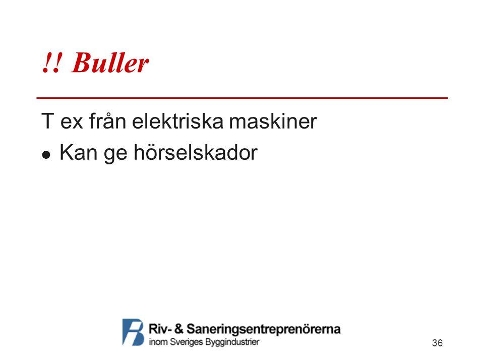 !! Buller T ex från elektriska maskiner  Kan ge hörselskador 36
