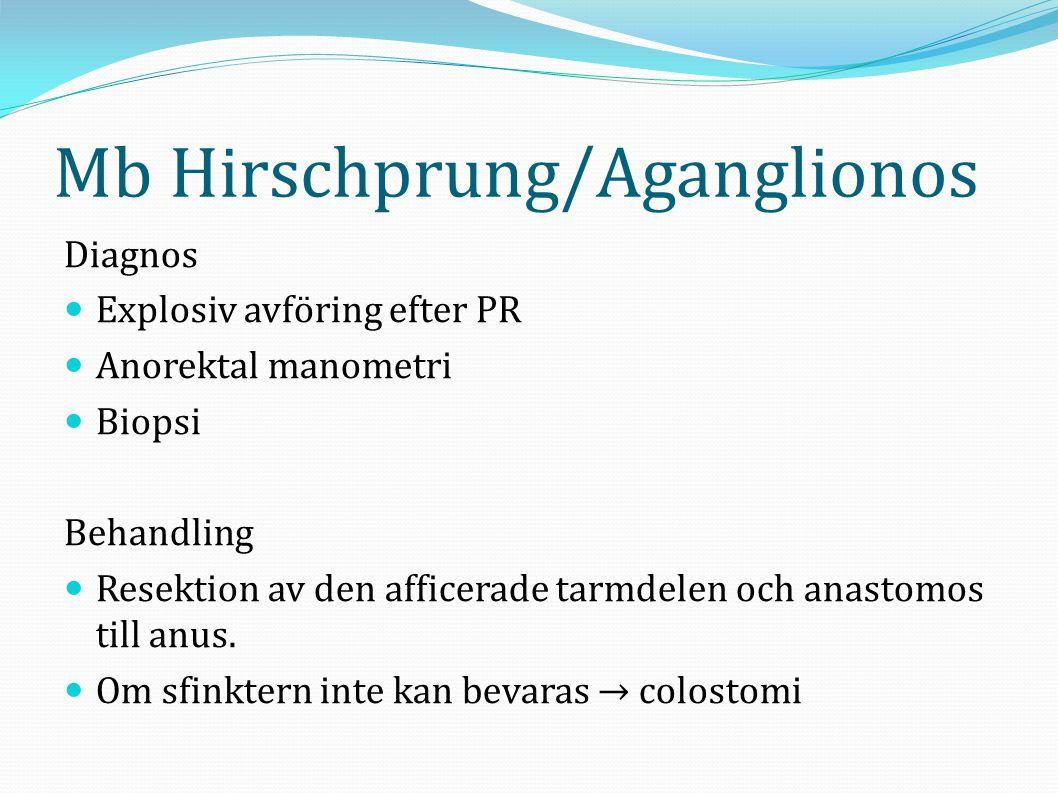 Mb Hirschprung/Aganglionos Diagnos  Explosiv avföring efter PR  Anorektal manometri  Biopsi Behandling  Resektion av den afficerade tarmdelen och