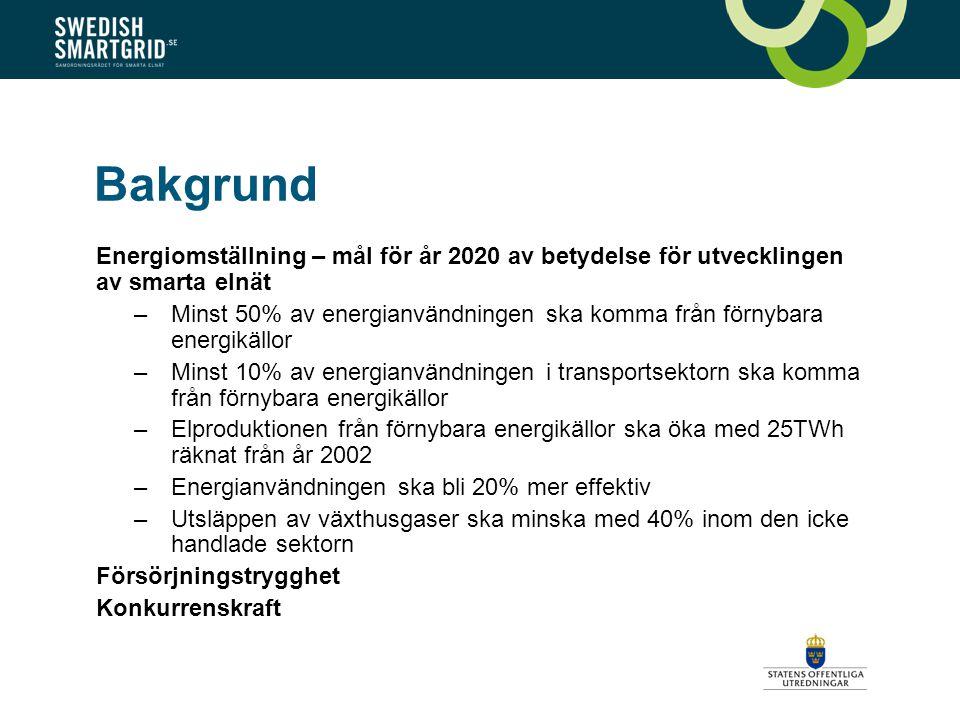 Bakgrund Energiomställning – mål för år 2020 av betydelse för utvecklingen av smarta elnät –Minst 50% av energianvändningen ska komma från förnybara energikällor –Minst 10% av energianvändningen i transportsektorn ska komma från förnybara energikällor –Elproduktionen från förnybara energikällor ska öka med 25TWh räknat från år 2002 –Energianvändningen ska bli 20% mer effektiv –Utsläppen av växthusgaser ska minska med 40% inom den icke handlade sektorn Försörjningstrygghet Konkurrenskraft