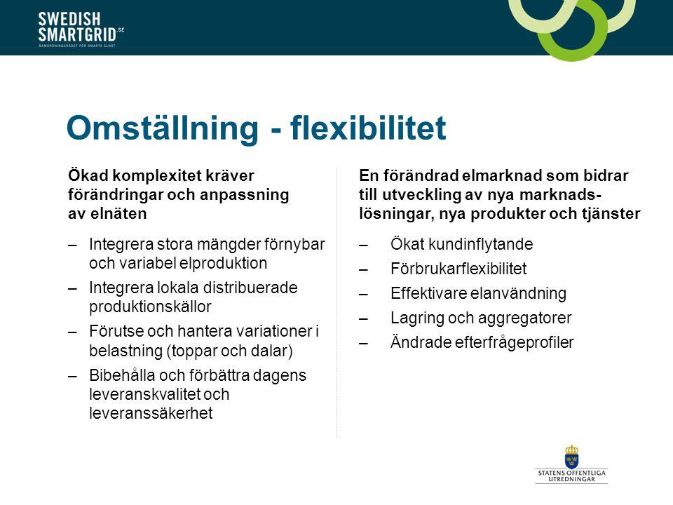 Omställning - flexibilitet Ökad komplexitet kräver förändringar och anpassning av elnäten –Integrera stora mängder förnybar och variabel elproduktion –Integrera lokala distribuerade produktionskällor –Förutse och hantera variationer i belastning (toppar och dalar) –Bibehålla och förbättra dagens leveranskvalitet och leveranssäkerhet En förändrad elmarknad som bidrar till utveckling av nya marknads- lösningar, nya produkter och tjänster –Ökat kundinflytande –Förbrukarflexibilitet –Effektivare elanvändning –Lagring och aggregatorer –Ändrade efterfrågeprofiler