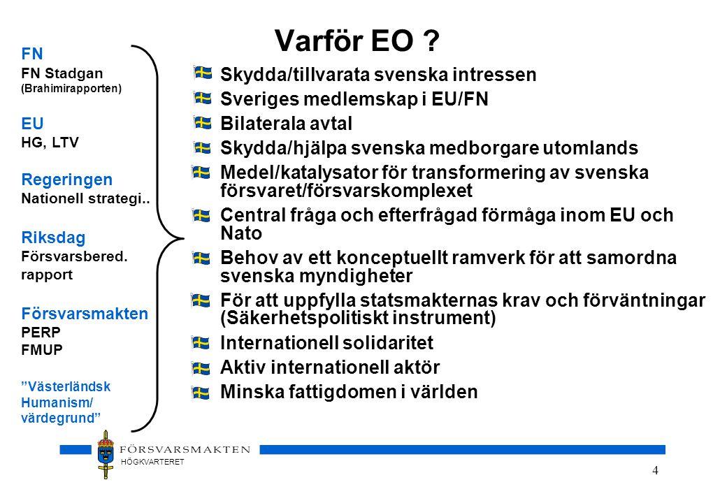 HÖGKVARTERET 4 Varför EO ? •Skydda/tillvarata svenska intressen •Sveriges medlemskap i EU/FN •Bilaterala avtal •Skydda/hjälpa svenska medborgare utoml