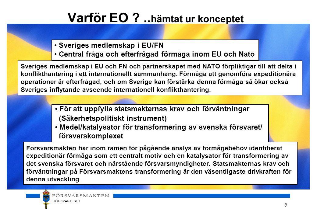 HÖGKVARTERET 5 Varför EO ?.. hämtat ur konceptet Sveriges medlemskap i EU och FN och partnerskapet med NATO förpliktigar till att delta i konflikthant