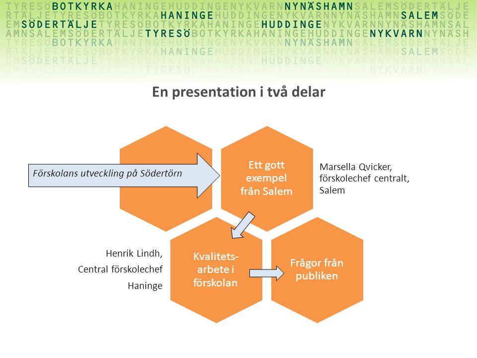 En presentation i två delar Ett gott exempel från Salem Marsella Qvicker, förskolechef centralt, Salem Kvalitets- arbete i förskolan Henrik Lindh, Cen