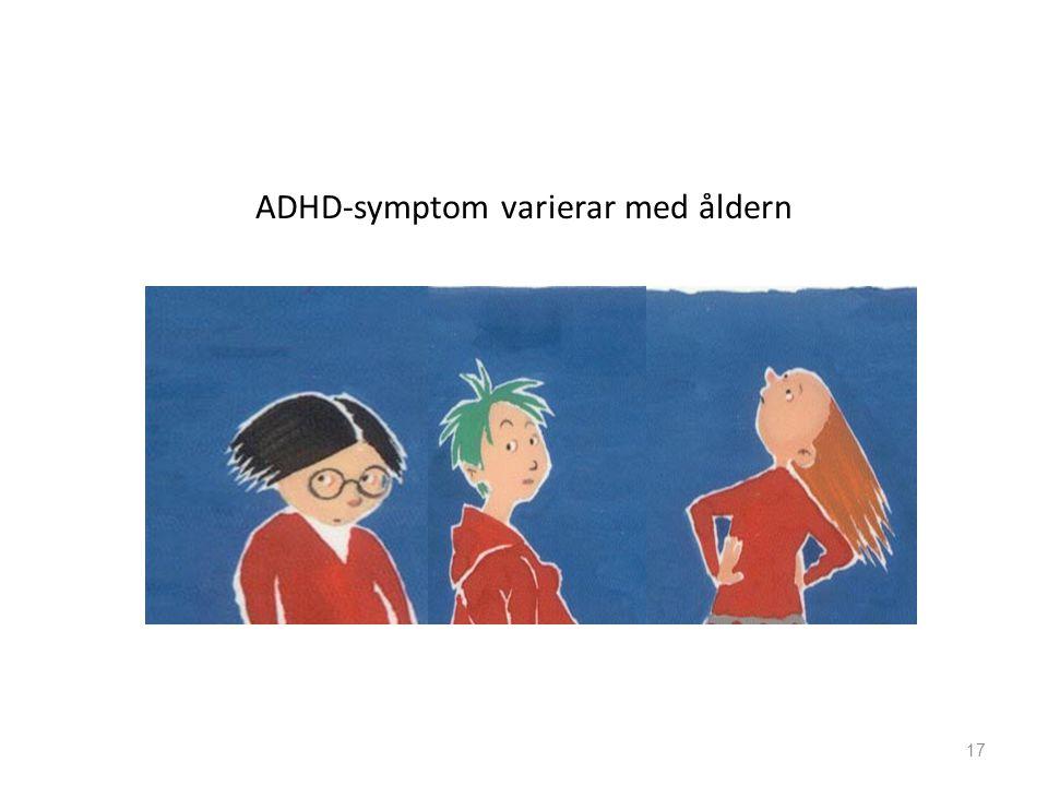 ADHD-symptom varierar med åldern 17
