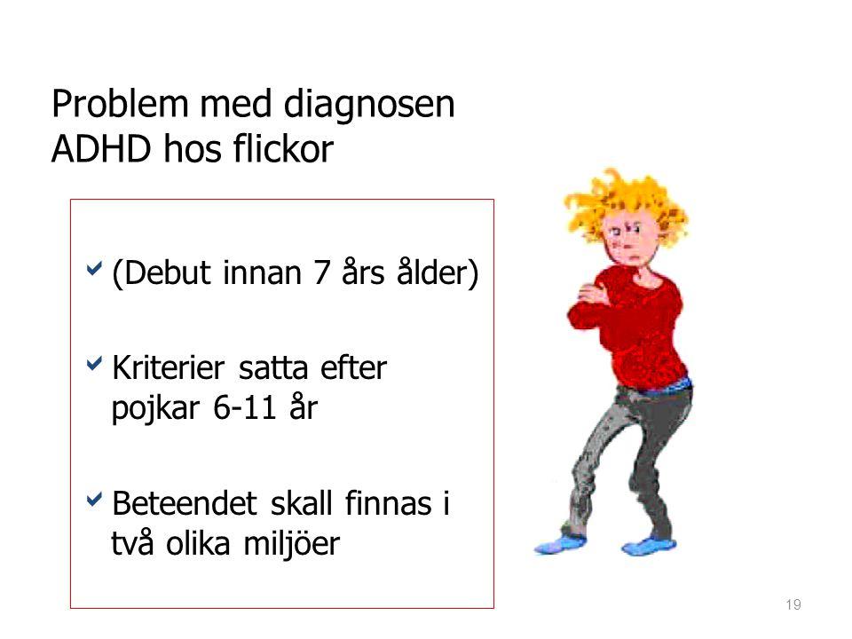 Problem med diagnosen ADHD hos flickor ((Debut innan 7 års ålder) KKriterier satta efter pojkar 6-11 år BBeteendet skall finnas i två olika milj