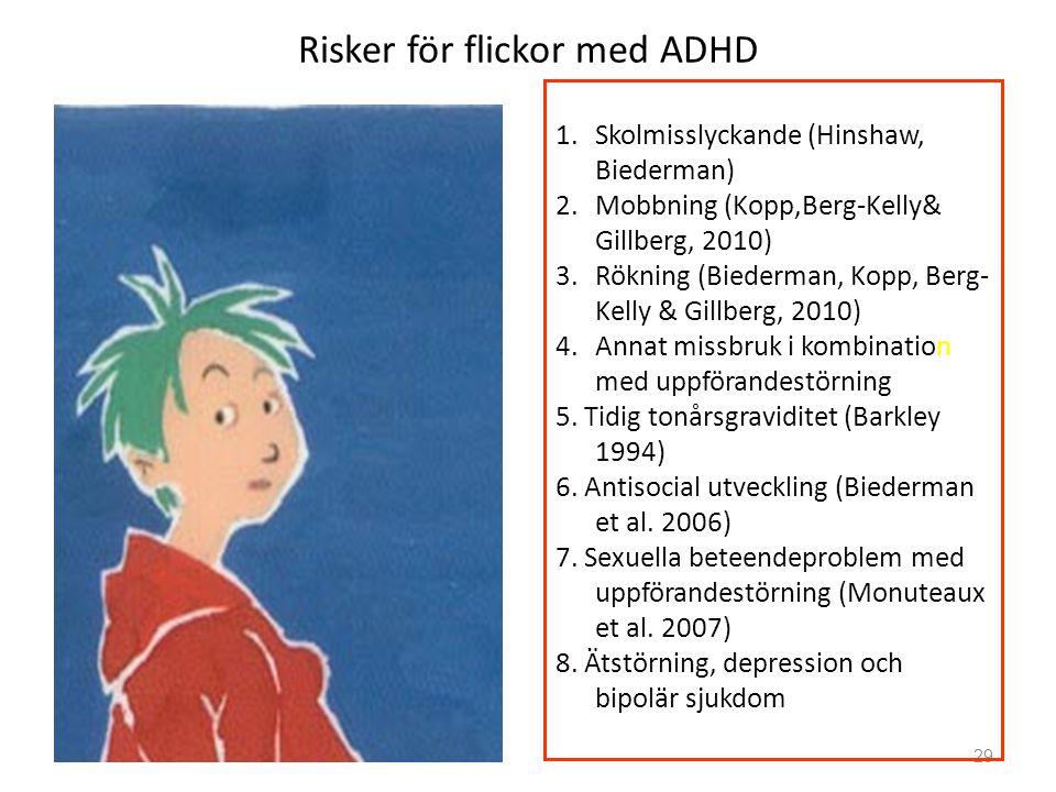 Risker för flickor med ADHD 29 1.Skolmisslyckande (Hinshaw, Biederman) 2.Mobbning (Kopp,Berg-Kelly& Gillberg, 2010) 3.Rökning (Biederman, Kopp, Berg-