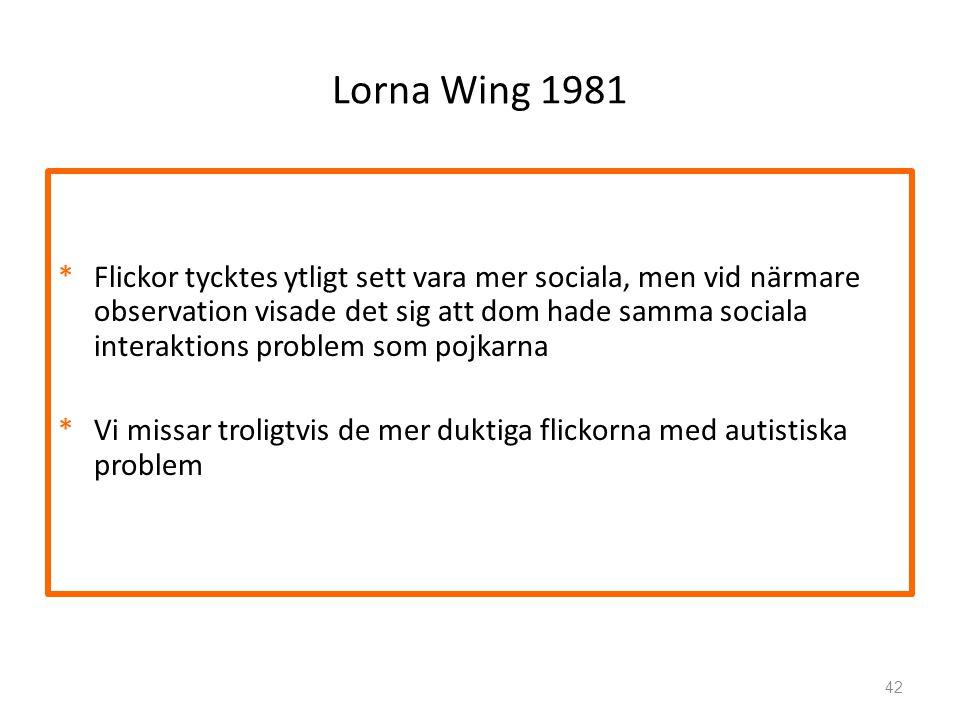 Lorna Wing 1981 *Flickor tycktes ytligt sett vara mer sociala, men vid närmare observation visade det sig att dom hade samma sociala interaktions prob