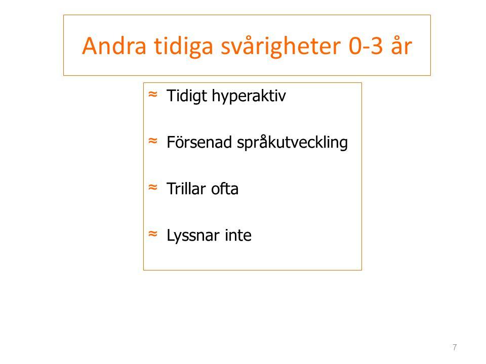 Andra tidiga svårigheter 0-3 år ≈Tidigt hyperaktiv ≈Försenad språkutveckling ≈Trillar ofta ≈Lyssnar inte 7