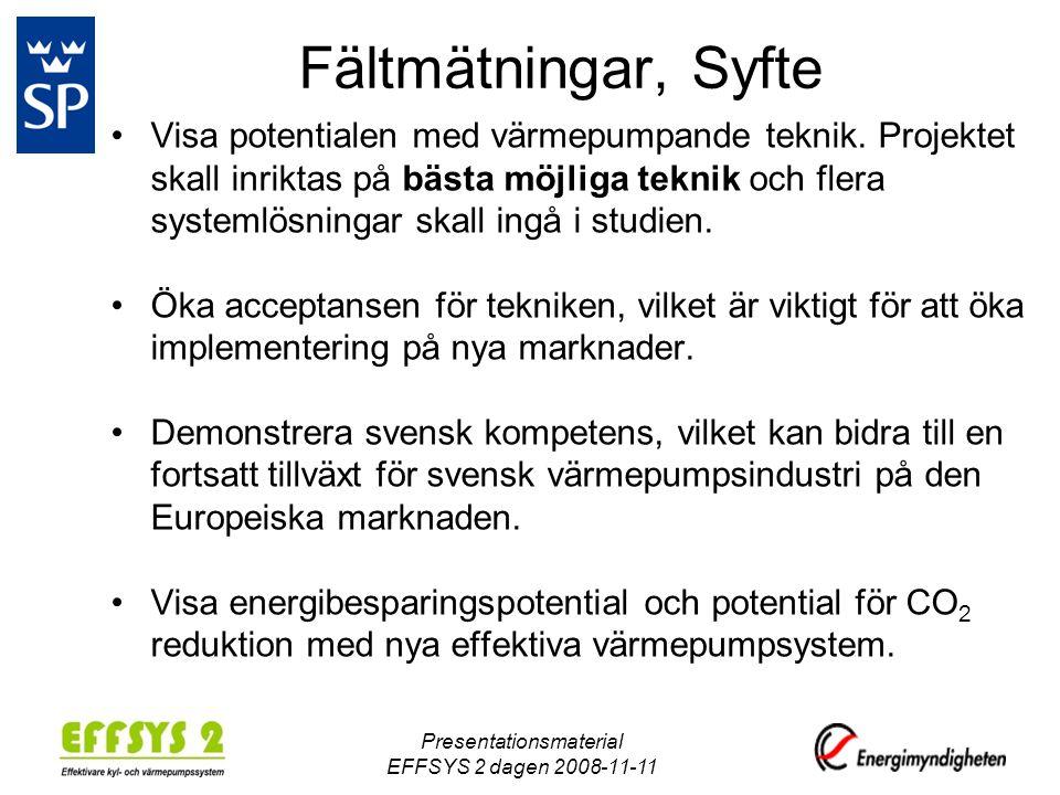 Fältmätningar, Syfte •Visa potentialen med värmepumpande teknik.