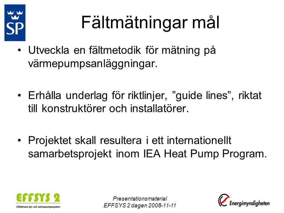 Fältmätningar mål •Utveckla en fältmetodik för mätning på värmepumpsanläggningar.