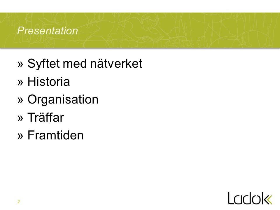 2 Presentation »Syftet med nätverket »Historia »Organisation »Träffar »Framtiden