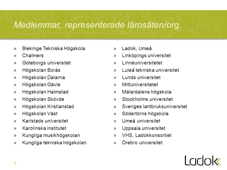 5 Medlemmar, representerade lärosäten/org. »Blekinge Tekniska Högskola »Chalmers »Göteborgs universitet »Högskolan Borås »Högskolan Dalarna »Högskolan