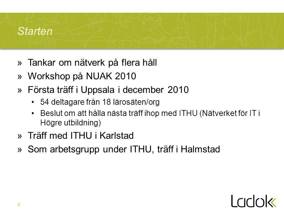 6 Starten »Tankar om nätverk på flera håll »Workshop på NUAK 2010 »Första träff i Uppsala i december 2010 •54 deltagare från 18 lärosäten/org •Beslut om att hålla nästa träff ihop med ITHU (Nätverket för IT i Högre utbildning) »Träff med ITHU i Karlstad »Som arbetsgrupp under ITHU, träff i Halmstad