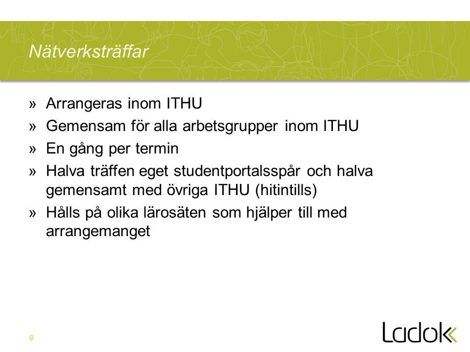 9 Nätverksträffar »Arrangeras inom ITHU »Gemensam för alla arbetsgrupper inom ITHU »En gång per termin »Halva träffen eget studentportalsspår och halva gemensamt med övriga ITHU (hitintills) »Hålls på olika lärosäten som hjälper till med arrangemanget