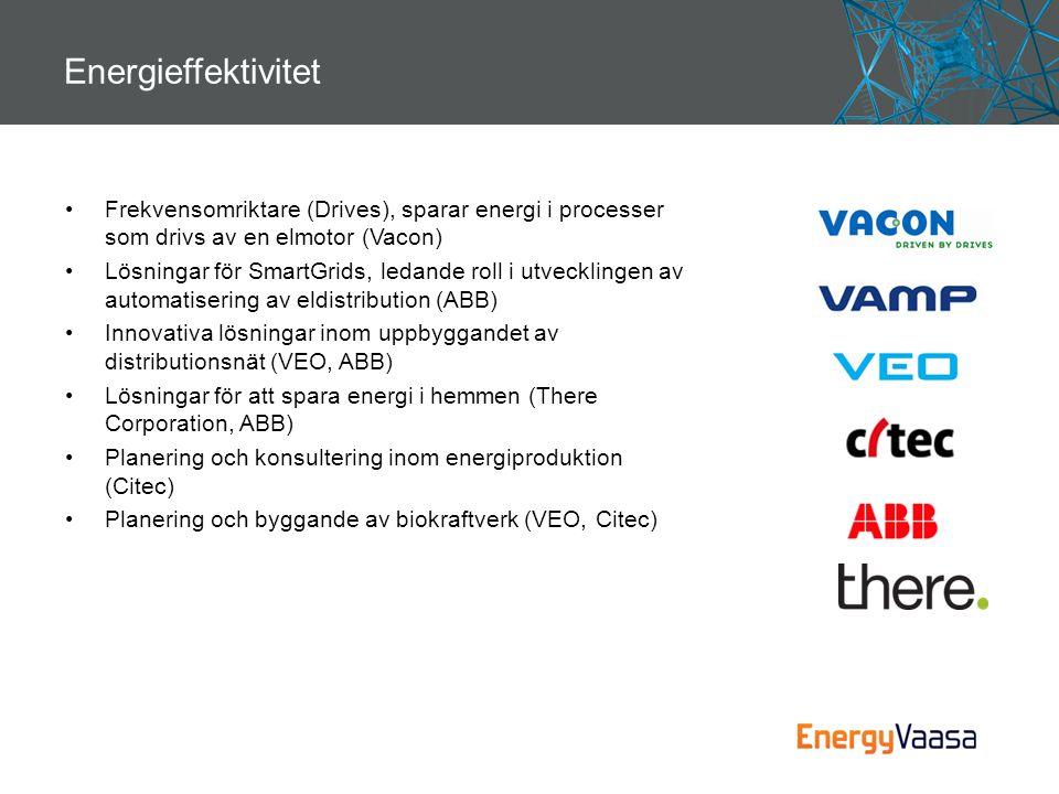 Energieffektivitet •Frekvensomriktare (Drives), sparar energi i processer som drivs av en elmotor (Vacon) •Lösningar för SmartGrids, ledande roll i ut