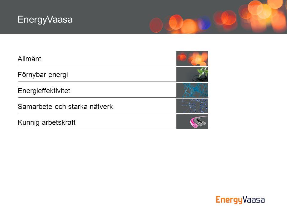 •Lösningar och komponenter for vind- och solenergi (Vacon, ABB, The Switch, Mervento) •Världsledande i dieselmotorer för fartyg, samt kraftverk för distribuerad energiproduktion (Wärtsilä) •Jordvärme, centraliserade lösningar (GeoPipe) •Elektricitet och fjärrvärme från avfall (Westenergy) •Utveckling av miljövänlig produktion och distribution av energi (Vasa Elektriska, EPV) Forskning och utveckling •VEI och Technobothnia är starkt med i utvecklingen av energi ur förnybara källor.