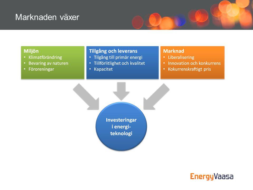 Energieffektivitet •Målet för företagen och forskningsinstituten inom EnergyVaasa är att minska utsläppen av växthusgaser.