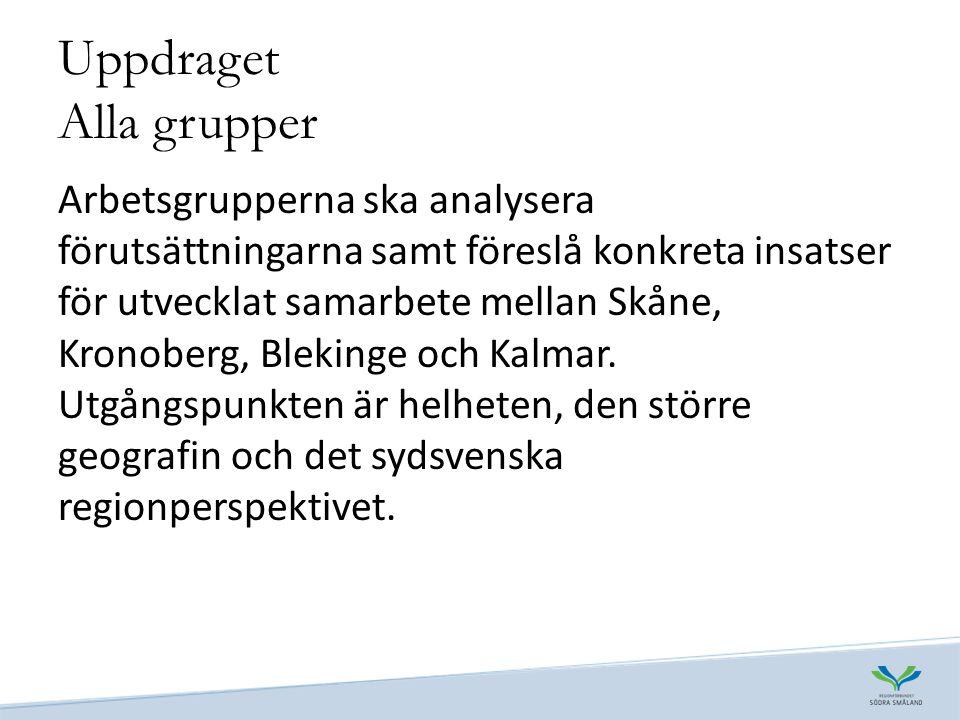 Uppdraget Alla grupper Arbetsgrupperna ska analysera förutsättningarna samt föreslå konkreta insatser för utvecklat samarbete mellan Skåne, Kronoberg, Blekinge och Kalmar.