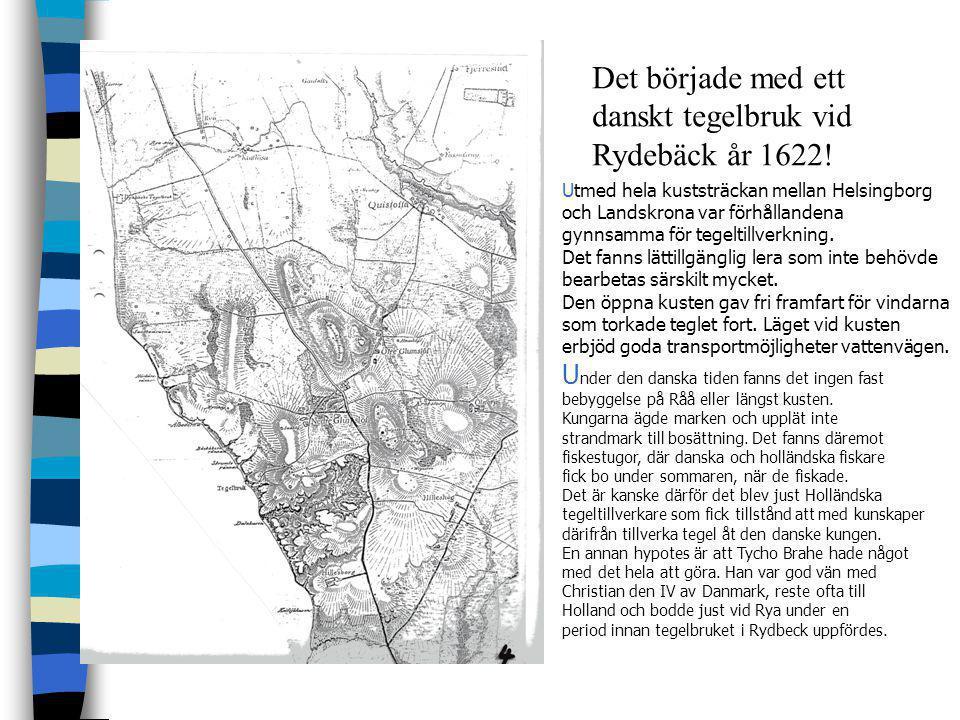 Tegelbruk i Rydebäcks närområde T egel tillverkades i Rydebäck under åren 1622 - 1880 men ugnen användes för att producera tegel i liten skala för pri