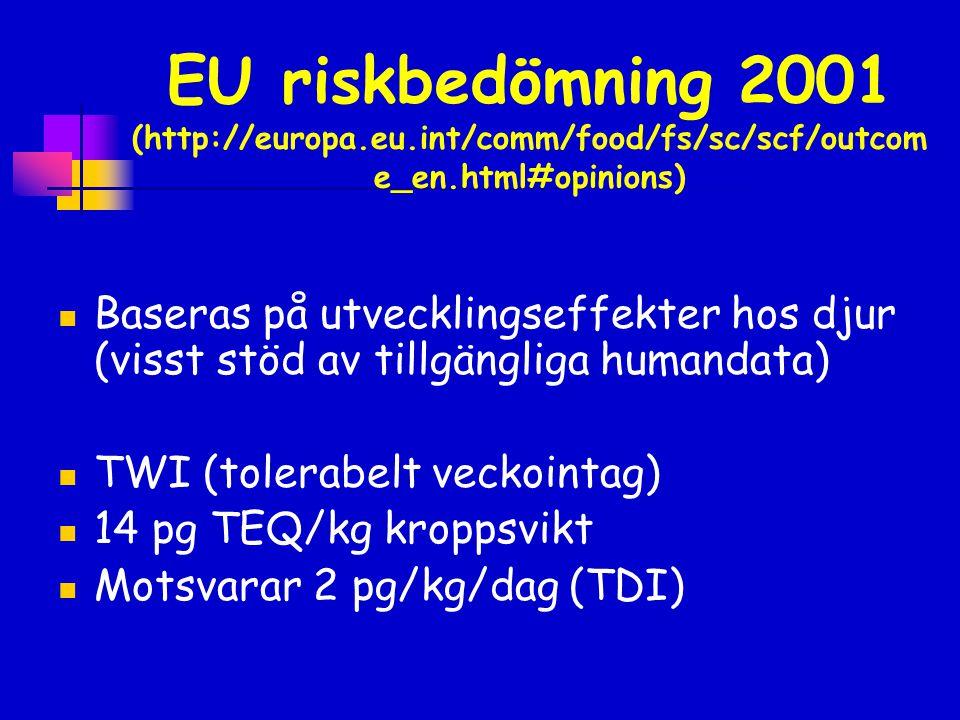 EU riskbedömning 2001 (http://europa.eu.int/comm/food/fs/sc/scf/outcom e_en.html#opinions)  Baseras på utvecklingseffekter hos djur (visst stöd av ti