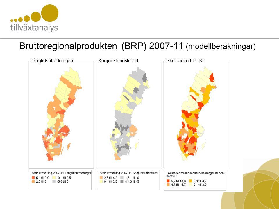 Bruttoregionalprodukten (BRP) 2007-11 (modellberäkningar) LångtidsutredningenKonjunkturinstitutetSkillnaden LU - KI
