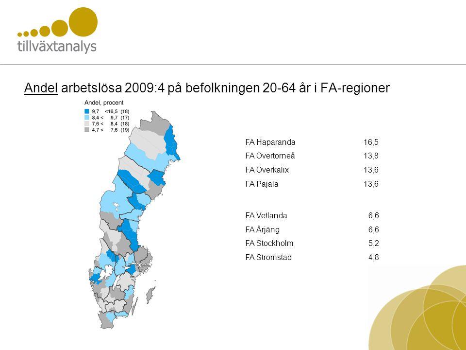 Andel arbetslösa 2009:4 på befolkningen 20-64 år i FA-regioner FA Haparanda16,5 FA Övertorneå13,8 FA Överkalix13,6 FA Pajala13,6 FA Vetlanda6,6 FA Årjäng6,6 FA Stockholm5,2 FA Strömstad4,8