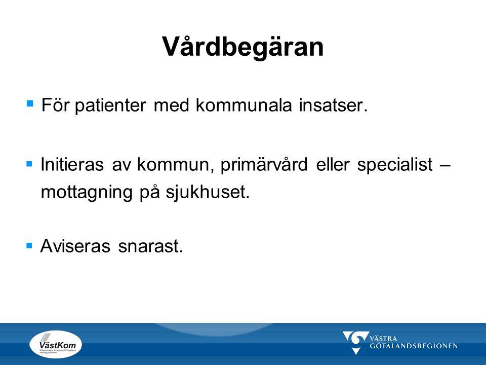 Vårdbegäran  För patienter med kommunala insatser.  Initieras av kommun, primärvård eller specialist – mottagning på sjukhuset.  Aviseras snarast.