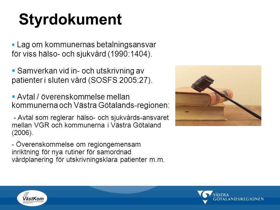 Styrdokument  Lag om kommunernas betalningsansvar för viss hälso- och sjukvård (1990:1404).  Samverkan vid in- och utskrivning av patienter i sluten