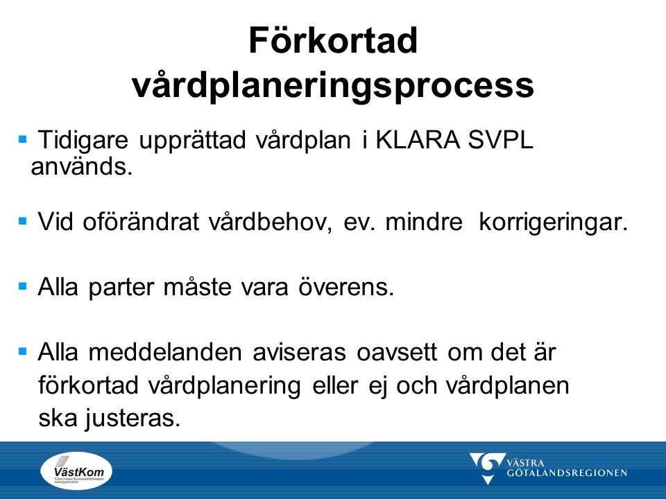 Förkortad vårdplaneringsprocess  Tidigare upprättad vårdplan i KLARA SVPL används.  Vid oförändrat vårdbehov, ev. mindre korrigeringar.  Alla parte