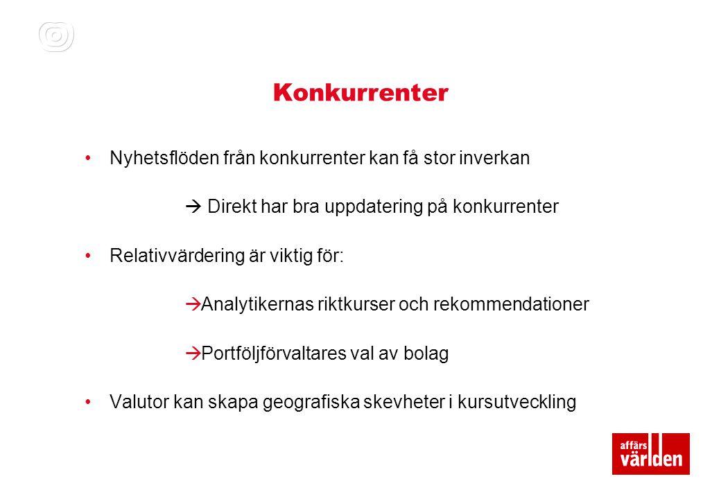 Viktiga trender •Kronan fortsätter ha stort inflytande på börsen •Utvecklingen för Baltikum och de svenska banker påverkar kronan •Makrobilden fortsätter vara avgörande på agendan  Stockholm är en cyklisk handelsplats