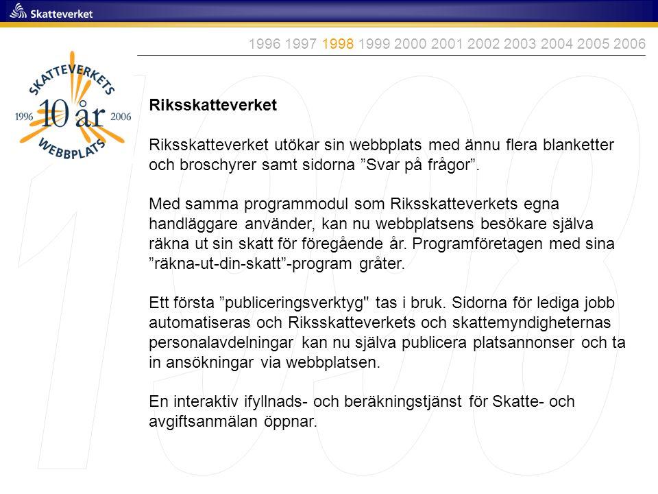 """Riksskatteverket Riksskatteverket utökar sin webbplats med ännu flera blanketter och broschyrer samt sidorna """"Svar på frågor"""". Med samma programmodul"""