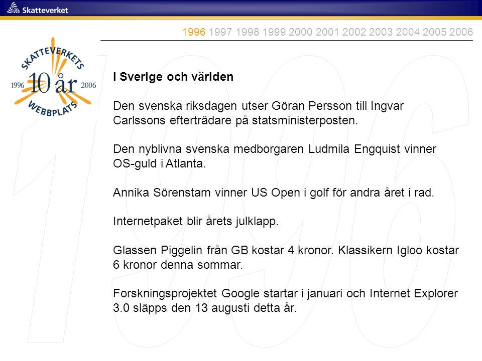 I Sverige och världen Den svenska riksdagen utser Göran Persson till Ingvar Carlssons efterträdare på statsministerposten. Den nyblivna svenska medbor
