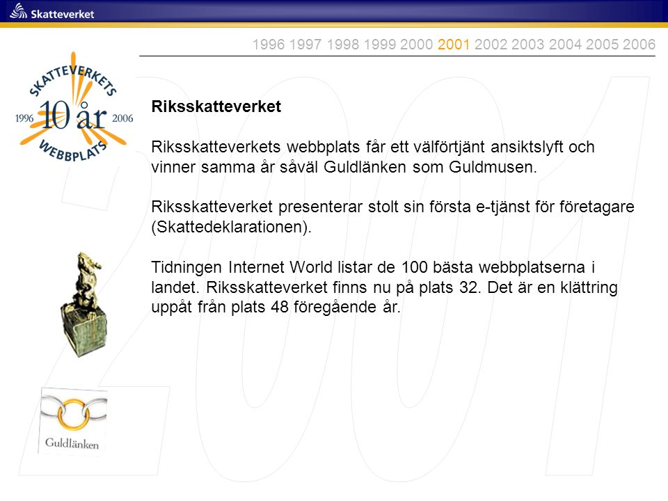 Riksskatteverket Riksskatteverkets webbplats får ett välförtjänt ansiktslyft och vinner samma år såväl Guldlänken som Guldmusen. Riksskatteverket pres