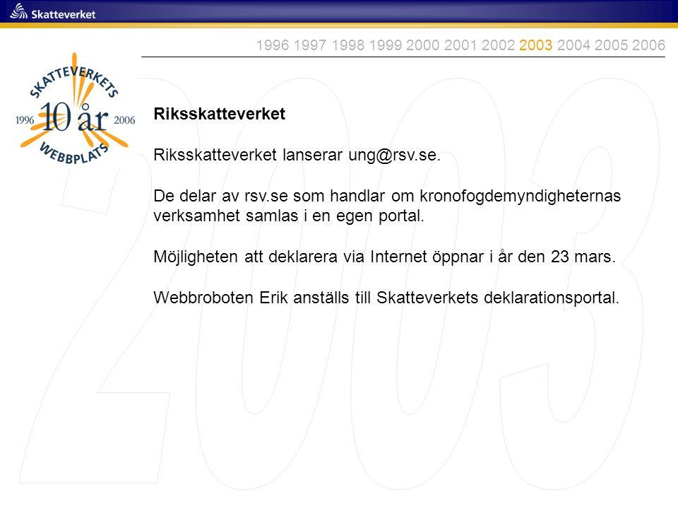 Riksskatteverket Riksskatteverket lanserar ung@rsv.se. De delar av rsv.se som handlar om kronofogdemyndigheternas verksamhet samlas i en egen portal.