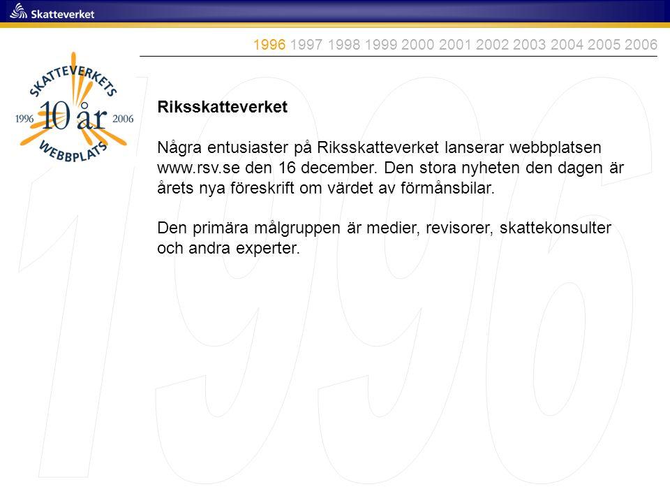 Riksskatteverket Några entusiaster på Riksskatteverket lanserar webbplatsen www.rsv.se den 16 december. Den stora nyheten den dagen är årets nya föres