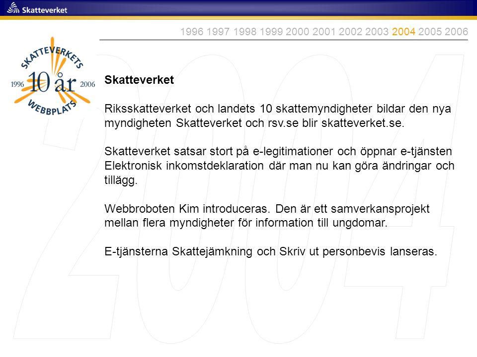 Skatteverket Riksskatteverket och landets 10 skattemyndigheter bildar den nya myndigheten Skatteverket och rsv.se blir skatteverket.se. Skatteverket s
