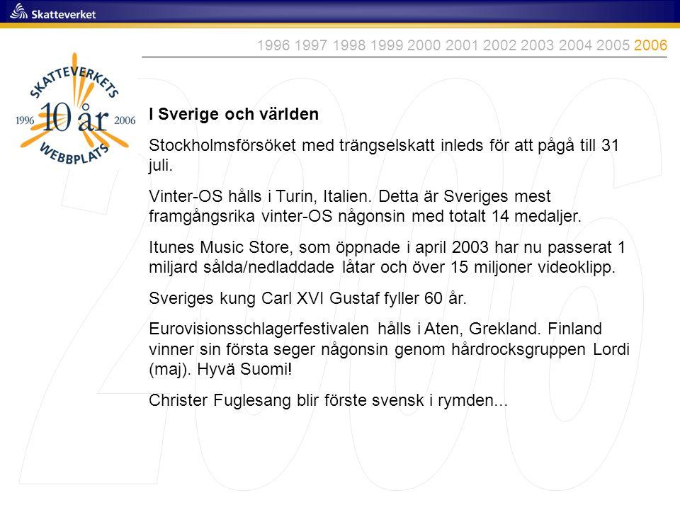 I Sverige och världen Stockholmsförsöket med trängselskatt inleds för att pågå till 31 juli. Vinter-OS hålls i Turin, Italien. Detta är Sveriges mest
