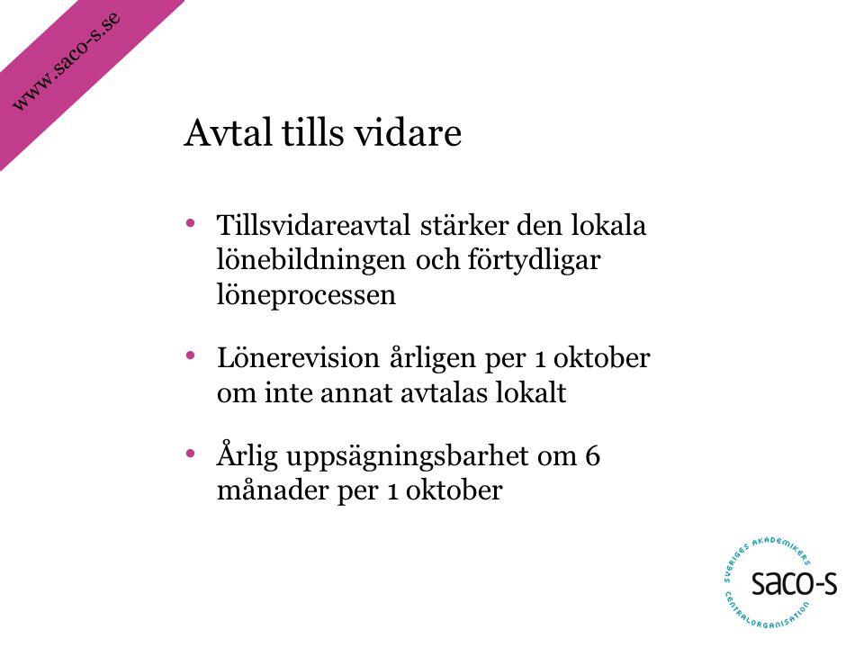 www.saco-s.se • Tillsvidareavtal stärker den lokala lönebildningen och förtydligar löneprocessen • Lönerevision årligen per 1 oktober om inte annat av