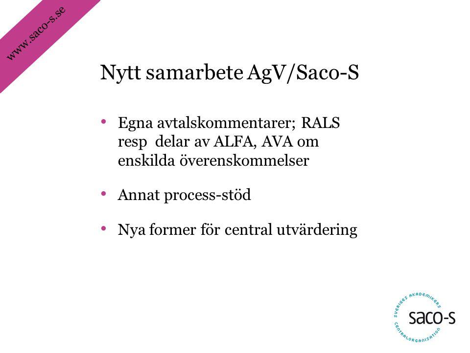 www.saco-s.se • Egna avtalskommentarer; RALS resp delar av ALFA, AVA om enskilda överenskommelser • Annat process-stöd • Nya former för central utvärdering Nytt samarbete AgV/Saco-S