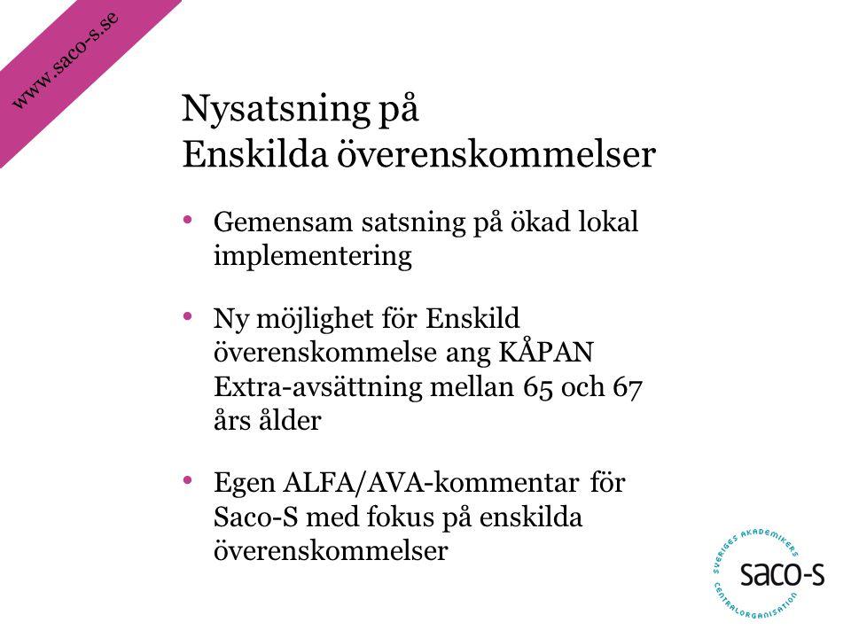 www.saco-s.se • Gemensam satsning på ökad lokal implementering • Ny möjlighet för Enskild överenskommelse ang KÅPAN Extra-avsättning mellan 65 och 67 års ålder • Egen ALFA/AVA-kommentar för Saco-S med fokus på enskilda överenskommelser Nysatsning på Enskilda överenskommelser